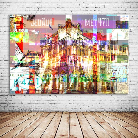 4711 Collage Köln individuelles Wandbild bunt konfus