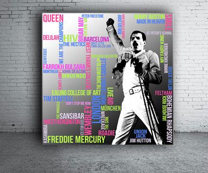 Freddie Mercury Typografie Grafik Quadrat