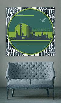 OC-235-Tunnelblick-Hamburg-Silhouette-Skyline-Wandbild-Kunstdruck-individuell
