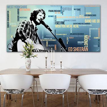 Ed Sheeran Wandbild abstrakte Popart Gitarre und Begriffe