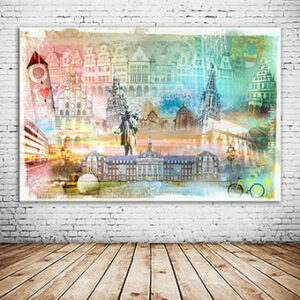 OC-246-Magic-Muenster-Collage-Fahrradstadt-Prinzipalmarkt-Wandbild-individuell
