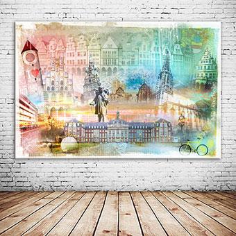 OC-246-Magic-Muenster-Collage-Fahrradstadt-Prinzipalmarkt-Wandbild-individuell