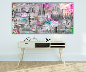OC-247-Die-Welt-ist-Neon-Popart-Wandbild-Weltcollage-Koelner-Dom-Palmen-Wandansicht-80x80-neu