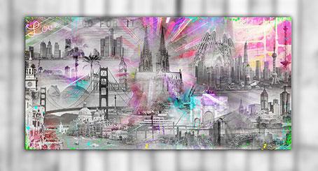Die Welt ist Neon Collage Weltstaedte Barcelona London Shanghai Valencia