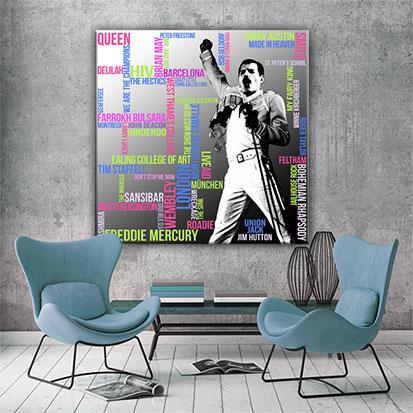 Freddie Mercury Typografie Grafik Quadrat Wandansicht 2