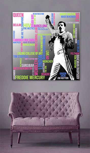 Freddie Mercury Typografie Grafik Quadrat Wandansicht 3