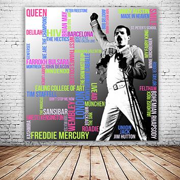 Freddie Mercury Typografie Grafik Quadrat Wandansicht 1
