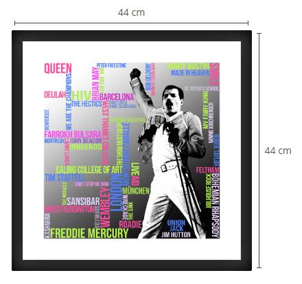 Freddie Mercury Typografie Grafik Quadrat Passepartout Rahmen schwarz