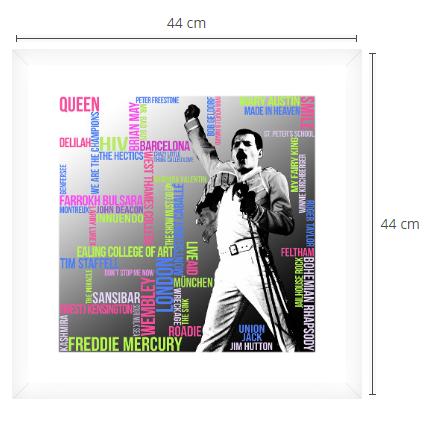 Freddie Mercury Typografie Grafik Quadrat Passepartout Rahmen weiss