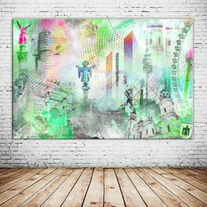 Wanderlust Muenchen Collage Individuell Wandbild Wandansicht Leinwanddruck