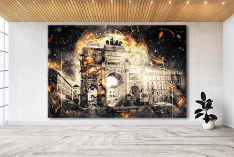 München Collage Siegestor Wandbild Kunstdruck
