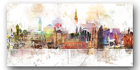 Abstraktes Freiburg Wandbild Collage individuell