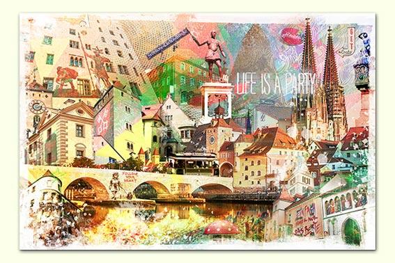 Regensburg Collage versandkostenfrei Wandbild