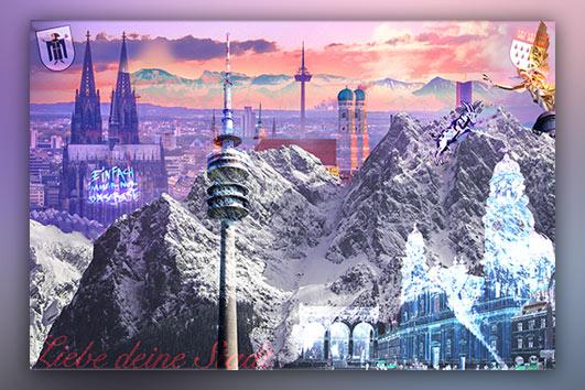 Köln und München Wandbild Mixcollage beide Städte
