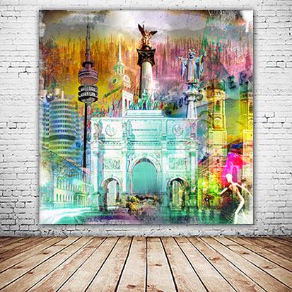 München Wandbild individuelle Collage